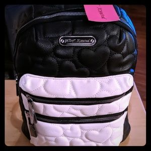 NWT Betsey Johnson black & white quilted backpack